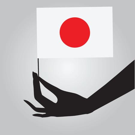 Vlag van Japan in een vrouwelijke hand. Vector illustratie. Stock Illustratie