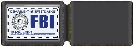Leather Case voor de FBI-certificaat, met een plaats voor de badge FBI special agent.