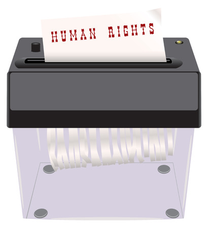 shredder: Human Rights in the shredder. The destruction of human rights.