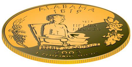 symbolic: Alabama - a gold coin, an abstract symbolic value.
