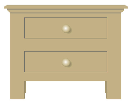 bedside: Classical bedside table with two drawers. Vector illustration. Illustration
