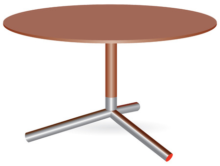 round table: Wooden round table with a central leg. Vector illustration.