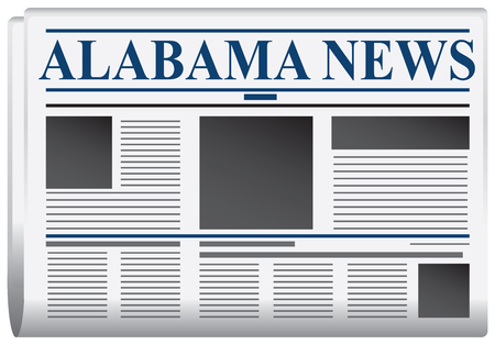 Newspaper News Alabama, abstract newspaper states. Vector illustration.
