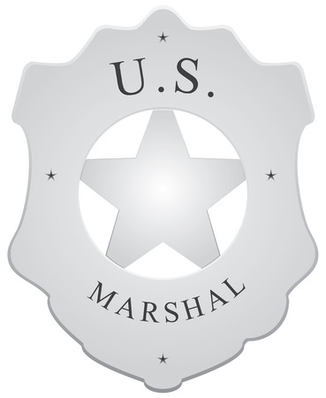 gunslinger: Badge for police units in the US - US Marshal. Illustration