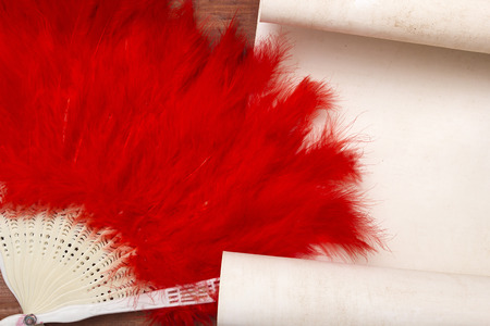 decorative accessories: Decorative female fan of red feathers. Stylish accessories.