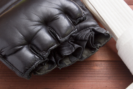 martial artist: Leather Gloves for fighting without rules and boxing. Stock Photo