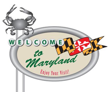 創造的な道路標識は、メリーランドへようこそ。ベクトルの図。