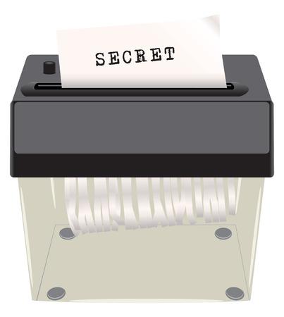 private parts: Secret document shredder, secret sign. Vector illustration.