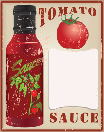 tomato sauce: Vintage card for the recipe tomato sauce. Vector illustration. Illustration