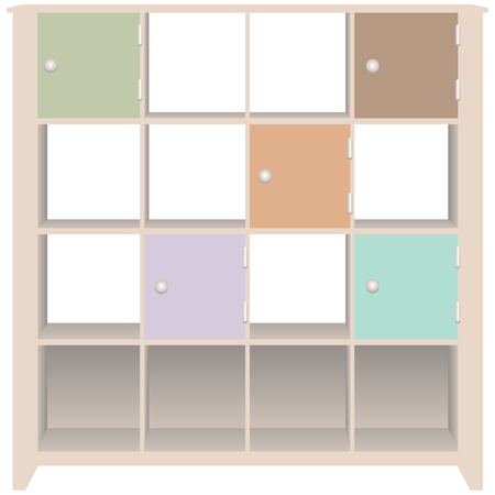 interior shelving: Line trim cabinet with doors for office documents.