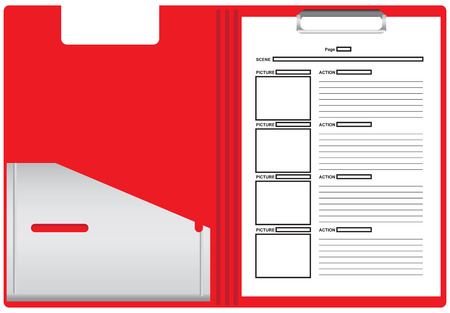 storyboard: Plastic folder with sheets of paper for the storyboard of the film based on the script. Vector illustration. Illustration