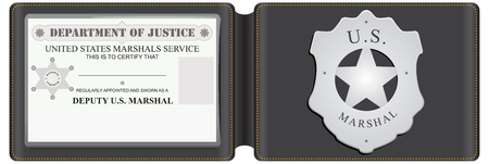 the marshal: The identity card US Marshal with a metal sign in a leather wallet. Illustration