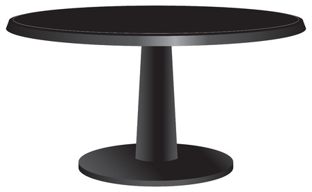 table surface: Black design table with a round top.