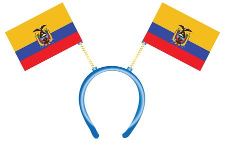 Funny headdress with flags Ecuador. Vector illustration. Ilustração