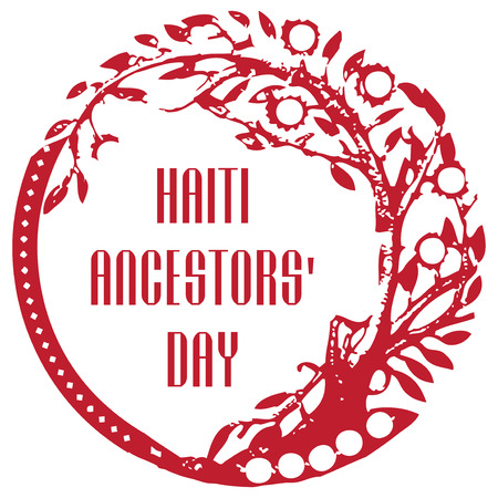 haiti: A reprint of a rubber stamp to a national holiday Haiti Ancestors Day.