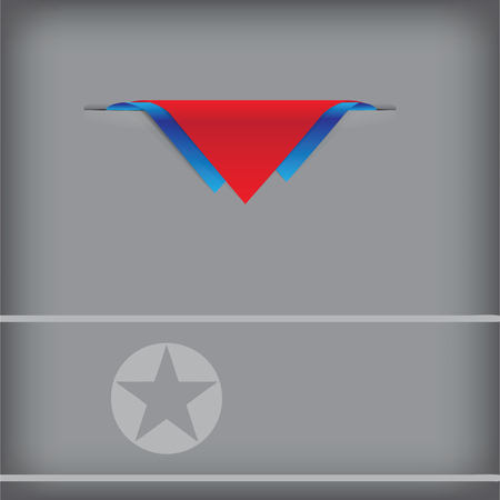 token: North Korea - a banner with the elements of the flag. Illustration