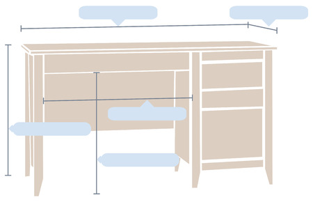 dimensions: Office table with the basic dimensions. Vector illustration.