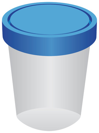The plastic container for urine. Vector illustration.