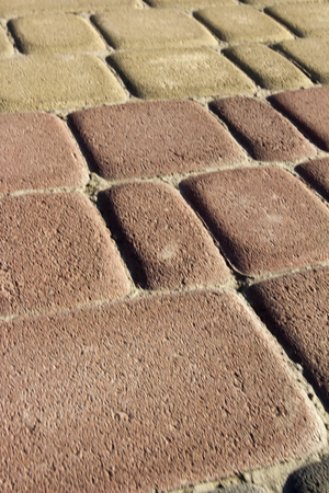 Garden paths of colored decorative bricks for landscaping.