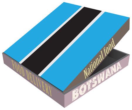 smolder: Box for food delivery Botswana cuisine. Vector illustration. Illustration