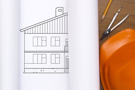 life extension: Bundle drawings house with a plastic construction.