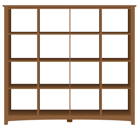 Modern office bookcase with square cells. Vector illustration.