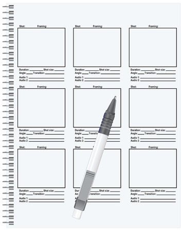 storyboard: Templates based on the storyboard of the film script, spring connection sheets. Vector illustration.