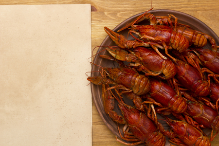 ware: Crayfish, cooked for serving in ceramic ware. Stock Photo