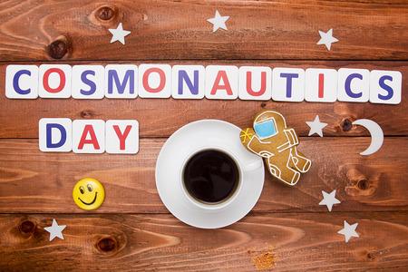 Creative Photo Cosmonautics Day of cookies and cups of coffee. Stock Photo