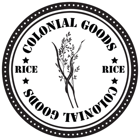 colonial: Stamp print, colonial goods - rice. Vector illustration.