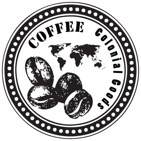 colonial: Stamp print, colonial goods coffee beans. Vector illustration. Illustration