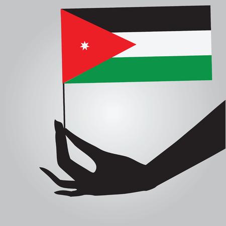 jordan: Flag of Jordan in a female hand. Vector illustration.