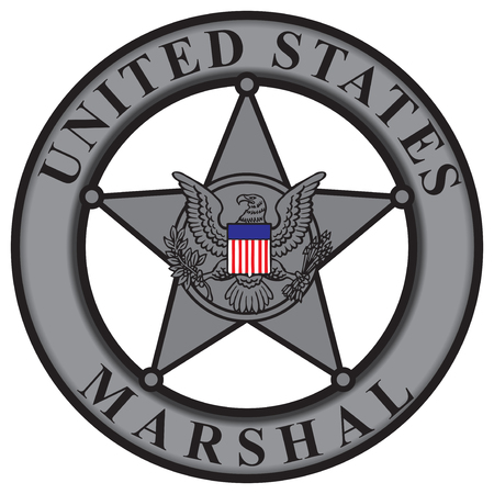 marshal: Classic badge United States Marshal. Vector illustration.