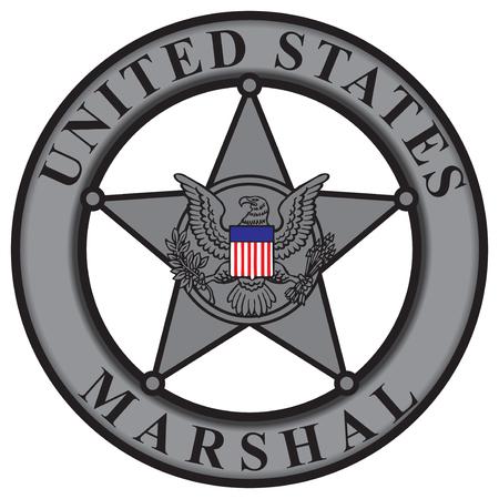the marshal: Classic badge United States Marshal. Vector illustration.