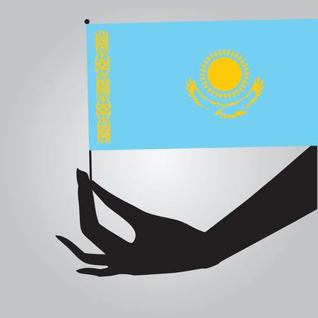 Flag of Kazakhstan in a female hand. Vector illustration.