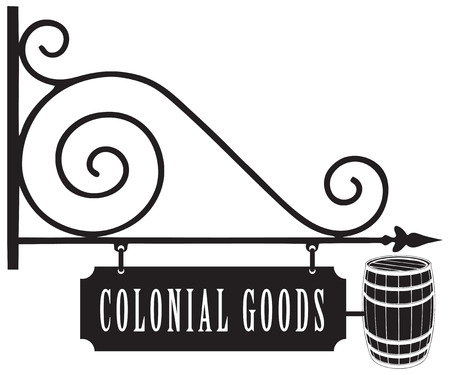 outdoor goods: Vintage signboard colonial goods, with a barrel as a symbol.