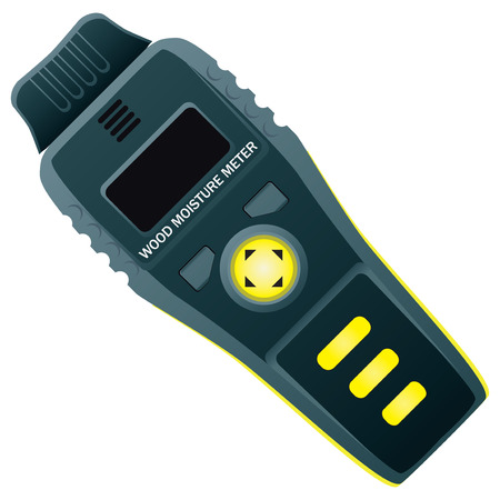 damp: Electronic moisture meter wood for industrial use. Illustration