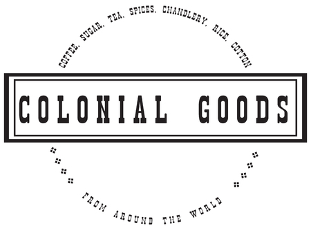 Colonial goods from around the world. Stamp print.