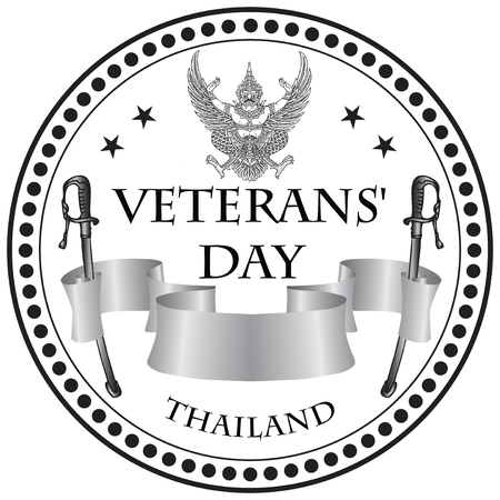 Stamp print Veterans Day Thailand, celebrated in February Illustration