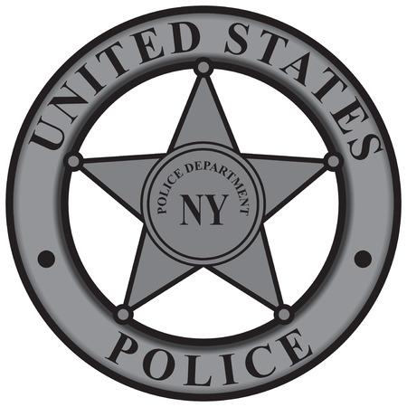 gunslinger: Police badge New York Police Department. Vector illustration.