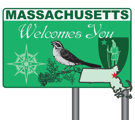Le Massachusetts vous souhaite la bienvenue. Road stand Massachusetts avec des éléments et des symboles de l'état.