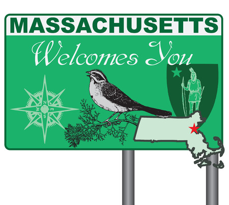 massachusetts: Massachusetts welcomes you. Road stand Massachusetts with elements and symbols of the state.