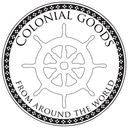 Stamp print, colonial goods from all over the world. Vector illustration. Stock Illustratie