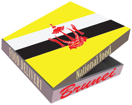 smolder: A large cardboard box for delivery the countrys food Brunei. Illustration