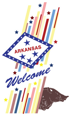 advertise with us: Welcome to Arkansas, creative banner for use in design. Illustration
