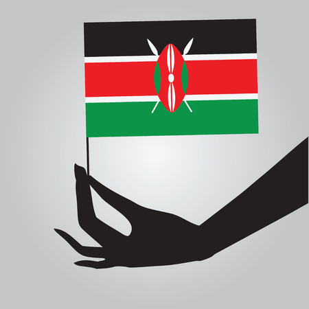 kenya: Flag of Kenya in a female hand. Vector illustration. Illustration