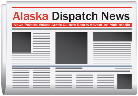 journalism: Newspaper Alaska dispatch news, abstract newspaper states. Vector illustration.