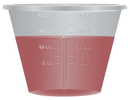 Medical plastic container with a measuring scale. Vector illustration.