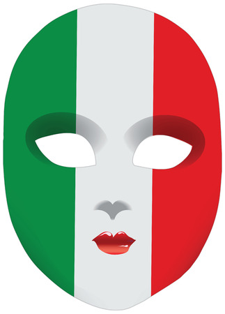 Classic mask with symbols of statehood of Italy. Vector illustration Ilustração