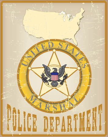 marshal: Vintage card for the Police Department - Marshal.